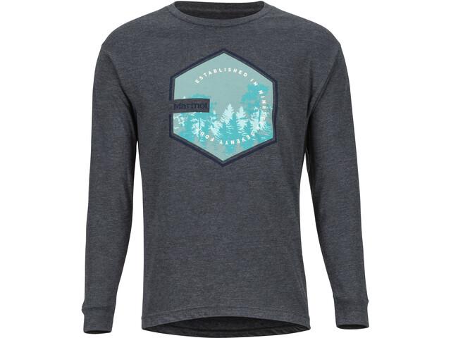 Marmot Deep Forest Longsleeve T-shirt Heren, charcoal heather
